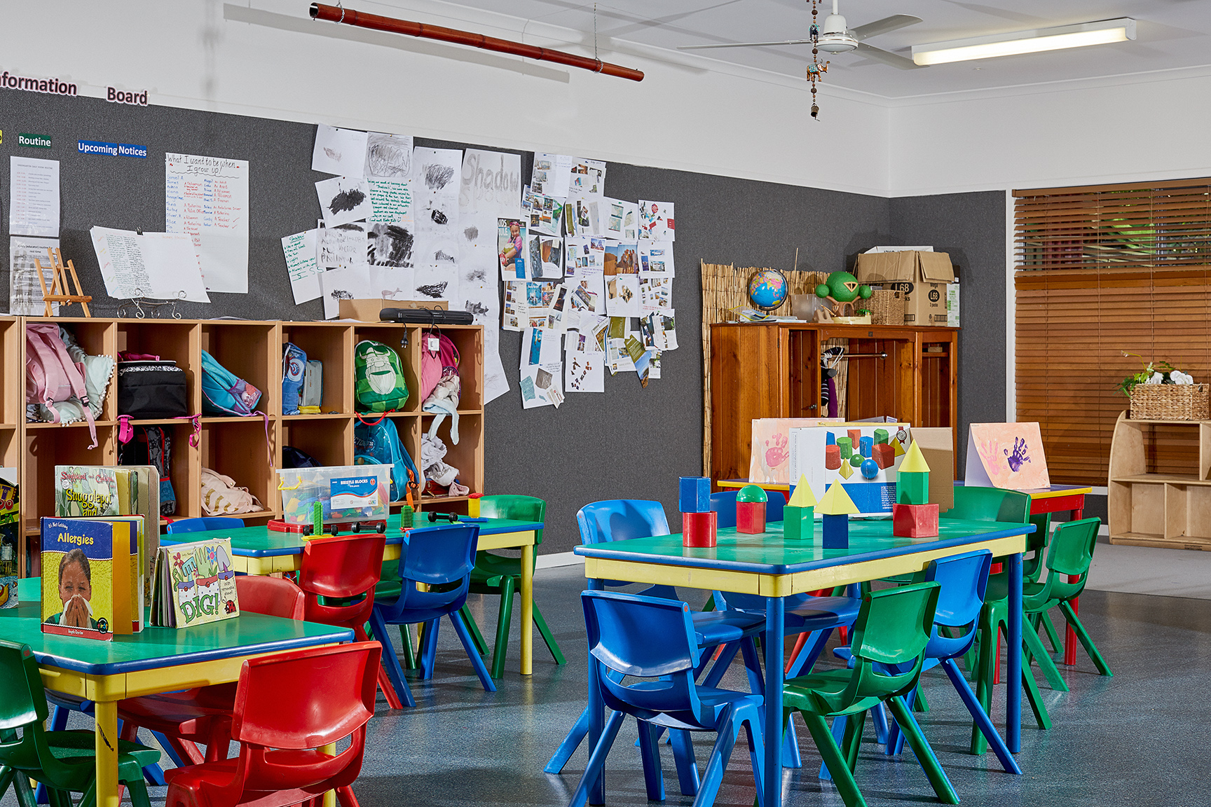 Child care centre room with toys setup on table